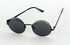 Black round sunglasses with small shade