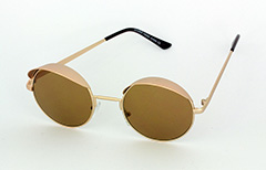Gold round sunglasses with small shade
