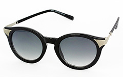 Round sunglasses in black with silver corners - Design nr. 1048