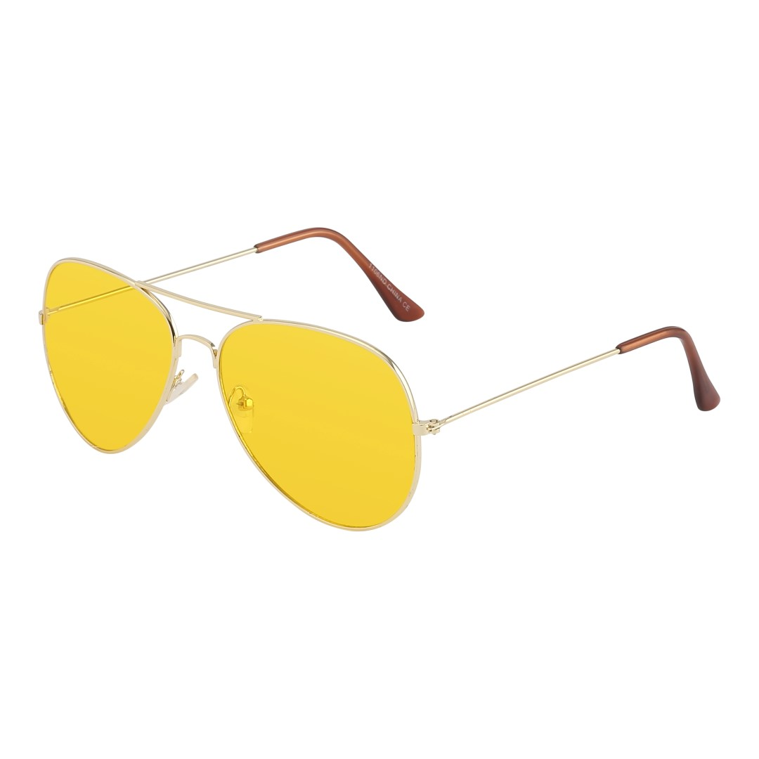 Aviator / pilot sunglasses in gold with yellow lenses