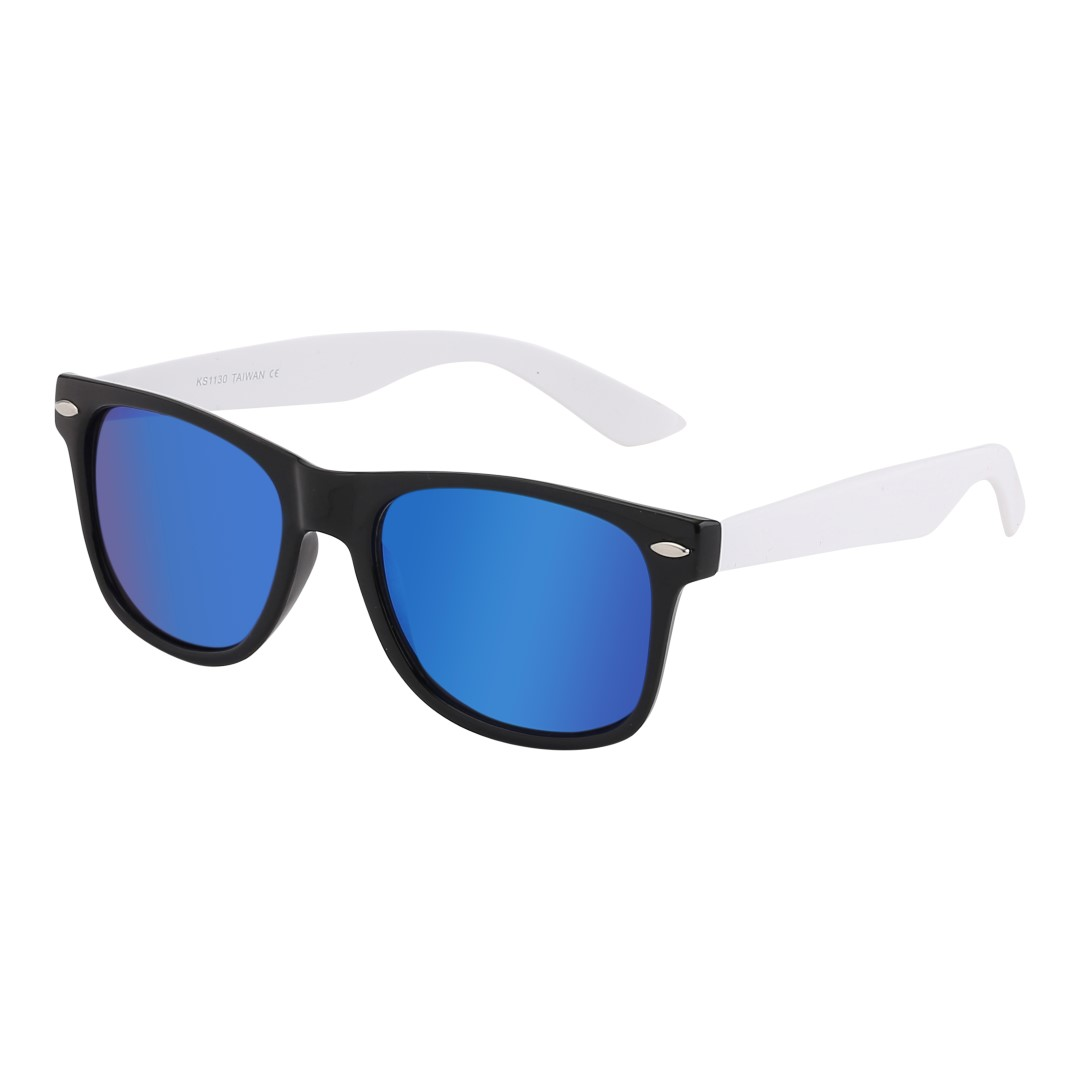 Matte black wayfarers with white arms and multicoloured glass