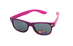 Sunglasses for children in checkered black and neon pink - Design nr. 1091
