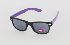 Sunglasses for children in checkered black and purple