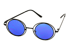 Lovely round black Lennon sunglasses with blue lenses - Design nr. 1114