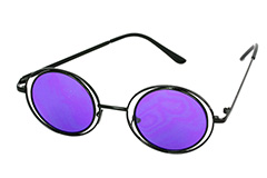 Lovely round black Lennon sunglasses with purple lenses - Design nr. 1116