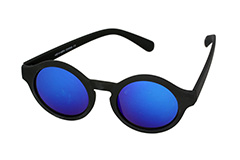 Matte black round sunglasses with blue mirror lenses - Design nr. 1128