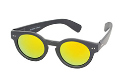 Matte black round sunglasses with yellow mirror lenses