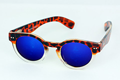 Round tortoiseshell sunglasses with blue mirror lenses - Design nr. 1130