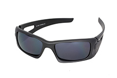 Matte black mens sunglasses in macho design