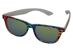 Wayfarer sunglasses in coloured animal print design and mirrored lenses