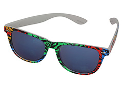Wayfarer sunglasses in coloured animal print design and blue mirrored lenses