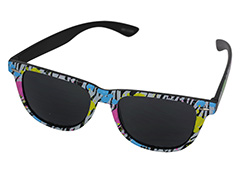 Black sunglasses with coloured animal print