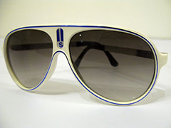 White vintage sunglasses with blue stripe. Cool design