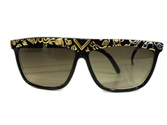 Cheap black sunglasses with yellow design - Design nr. 1639