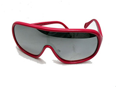 Ski / racer sunglasses in pink with mirror lenses