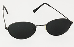Black oval sunglasses with dark lenses