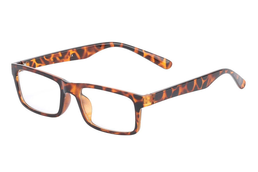 Fine tortoiseshell square non-prescription glasses - Design nr. 3015