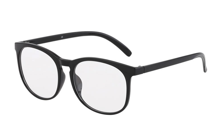 Round black non-prescription glasses  - Design nr. 3017