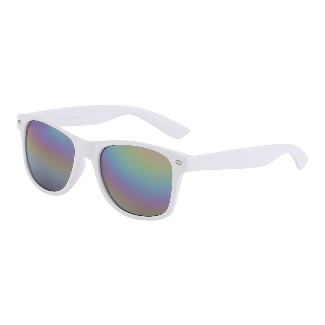 White wayfarer sunglasses with coloured mirror lenses - Design nr. 3041