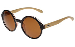 Round sunglasses with bamboo - Design nr. 3043
