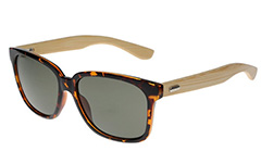 Tortoiseshell wayfarer sunglasses with handmade bamboo arms. - Design nr. 3048