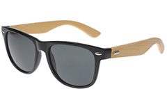 Black wayfarer sunglasses with handmade bamboo arms.
