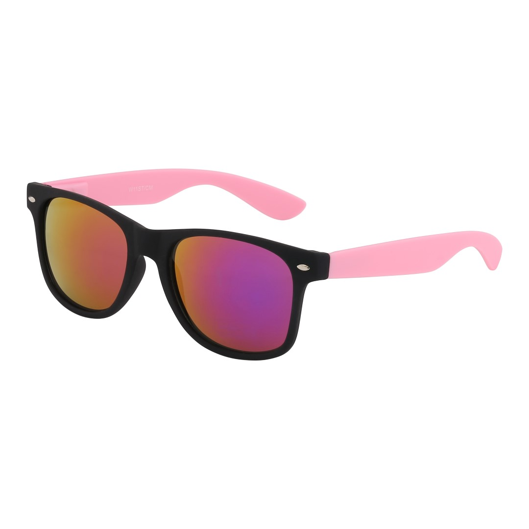 Wayfarer with soft pink and multi-coloued lenses