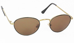 Oval metal sunglasses in black and gold - Design nr. 3118
