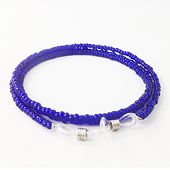 Glasses cord with blue pearls