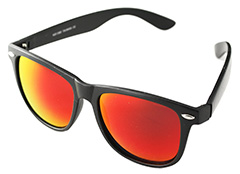 Black wayfarer sunglasses with red lenses