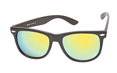 Black matte wayfarer with multi-coloured mirror lenses