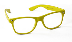 Yellow sunglasses in wayfarer look. Non-prescription