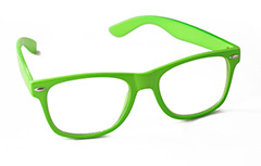 Green sunglasses in wayfarer look. Non-prescription