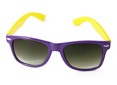 Wayfarer sunglasses in purple with yellow arms
