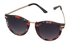 Round wayfarer sunglasses in lovely reddish flower design - Design nr. 964