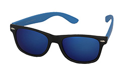 Sunglasses with blue arms and multicoloured lenses