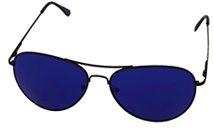 Aviator / metal pilot sunglasses with blue lenses