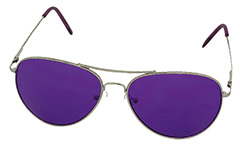 Aviator / metal pilot sunglasses with purple lenses - Design nr. 978